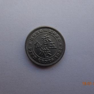 Британский Гонконг 5 центов 1937 George VI отличное состояние очень редкая