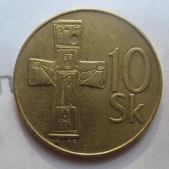 СЛОВАКИЯ, 10 словацких крон 1995 года (СТАРИННОЕ РАСПЯТИЕ).