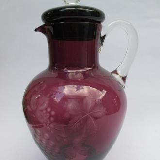Кувшин Виноград марганцевое стекло