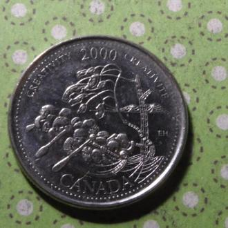 Канада 2000 год монета 25 центов квотер !