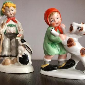 Антикварные раритетные парные статуэтки Мальчик и Девочка старая германия