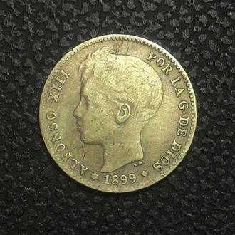 Испания 1 песет 1899 год  Редкая!!! серебро!! ОРИГИНАЛ!!