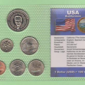 Набор США +1 доллар Либерия Арнольд Шварценеггер - штат Калифорния пластик блистер