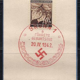 Рейх, 1942 г., Вогемия - Моравия, спец гашение