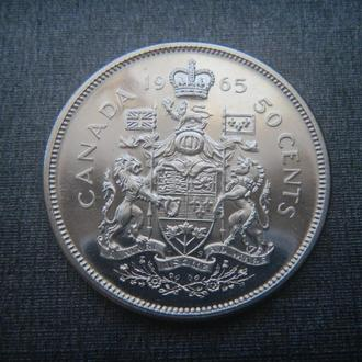 Канада 50 центов 1965 СЕРЕБРО