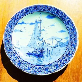 БОЛЬШАЯ Тарелка коллекционная настенная 30.8 см - голландия - BOSH - delfts - royal sphinx =