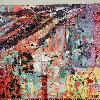 "Картина  ""Весеннее настроение"", абстракция, холст, масло, мастехин, размер 50х70 см"