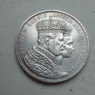Германская империя ,Пруссия. 1 талер 1861 года, посвящен Коронации Вильгельма и Августы. Состояние!