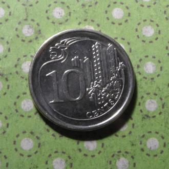 Сингапур 2013 год монета 10 центов !