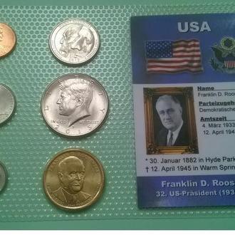 Набор монет США: 32 -й Президент США - Франклин Рузвельт - Franklin Roosevelt пластик блистер запайк