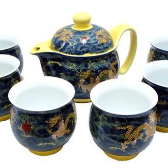 Фарфоровый набор: 6 чашек и чайник с двойной стенкой, рисунок дракона