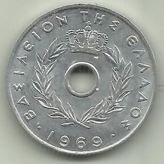 Греция Константин II 20 лепт 1969 UNC