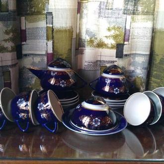 Изысканный чайный сервиз. Фарфор, позолота, кобальт. Довбыш.