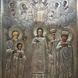 Икона Покрова С.Б. 19в. серебро. размер 30\25.5 клейма