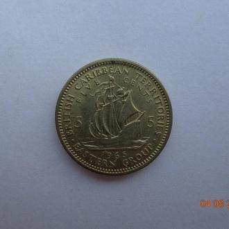 Британские Карибские территории 5 центов 1965 Elizabeth II отличное состояние редкая