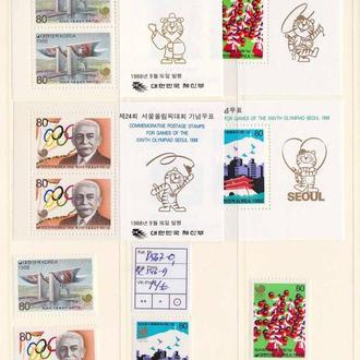 ЛОИ  Корея  1988 г  MNH -  4 блока и 4 марки