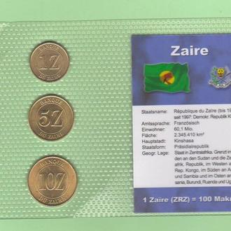 Набор монет ЗАИР набір ЗАЇР блистер запайка пластик