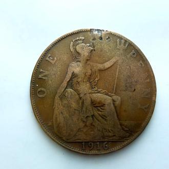 Великобритания 1 пенни (Penny) 1916 год