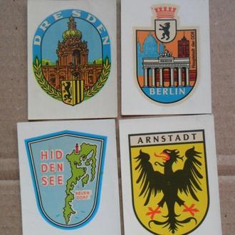 Наклейки ГДР СССР города DDR 4 шт. переводные картинки