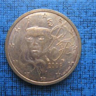 монета 2 евроцента франция 2009