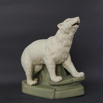 Фарфоровая статуэтка фарфор карандашница Белый медведь Городница 1920г