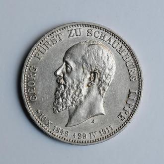 Шаумбург-Липпе 3 марки 1911 г., AU, 'Князь Альбрехт Георг (1893 - 1911)'