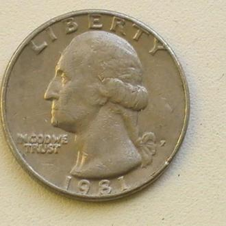 25 Центов 1981 г США Квотер 25 Центів 1981 р США