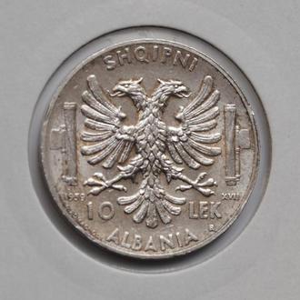 Албания 10 лек 1939 г., XF, 'Итальянская оккупация (1939-1943)'