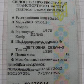 Тех. паспорт на легковой автомобиль: ВАЗ 21011 (1978 г.в.)