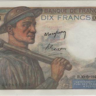Франция 10 франков 1949г. в UNC из пачки