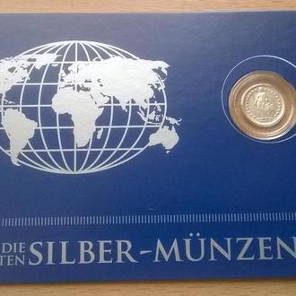 Швейцария – 1/2 франка 1920 год СЕРЕБРО Ag блистер из серии Die Kleinsten Silber-Munzen+ сертификат
