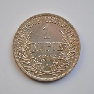 Германская Восточная Африка 1 рупия 1906 г. A, XF, 'Император Вильгельм II (1888 - 1918)'