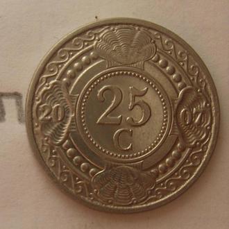 НИДЕРЛАНДСКИЕ АНТИЛЬСКИЕ ОСТРОВА 25 центов 2007 года.