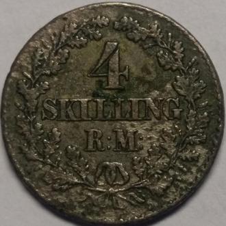 Дания 4 скилинга 1856 год СЕРЕБРО!! ОРИГИНАЛ!!!!