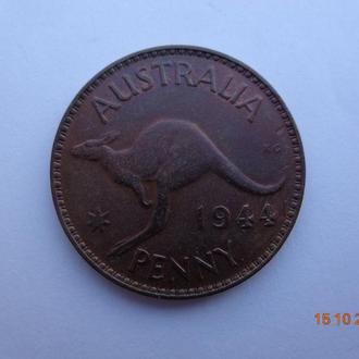 """Австралия 1 пенни 1944p (""""точка"""" после PENNY) George VI """"Kangaroo"""" отличное состояние"""