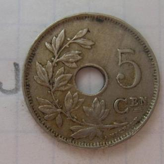 БЕЛЬГИЯ, 5 сантимов 1922 г.