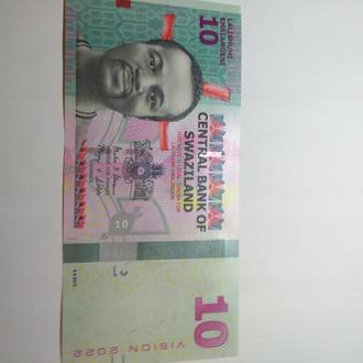 10 емалангени, Свазиленд, Unc, пресс, оригинал!