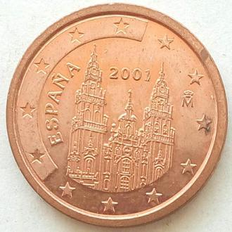 (А) Испания 2 евроцента евро цента 2001