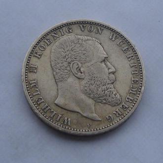 1903 г - 5 марок Германия,Вюртемберг,серебро