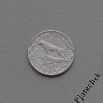 Южная Родезия 6 пенсов 1962