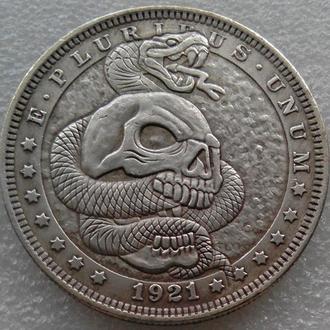 США Доллар 1921 г. Череп и змея