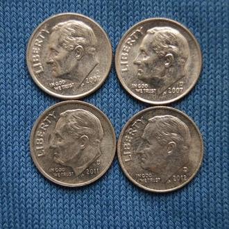 США 10 центов дайм  2002  2007  2011  2012 г   D  4шт одним лотом