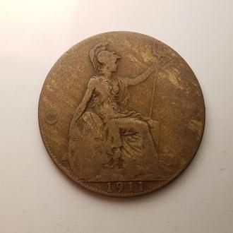 Великобритания 1 пенни (Penny) 1911 год