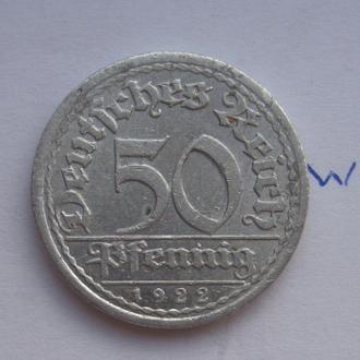 "ГЕРМАНИЯ, 50 пфеннигов 1922 г. ""А"" (Мон Двор БЕРЛИН)."