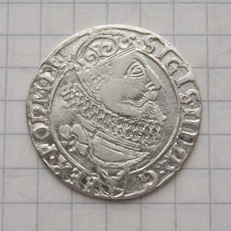 Шестак (6 грошей) 1626 года, Сигизмунд III Ваза. Двойной удар, состояние.