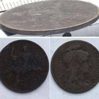 Франция 5 сантимов, 1901г. ПериодТретья Республика (1870 - 1941) / Бронза