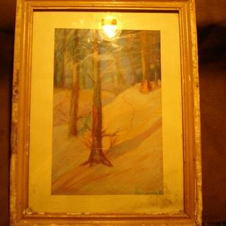 Пастель Зимовий ліс