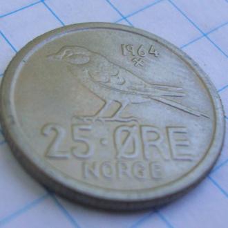 Норвегия 25  эре  - 1964
