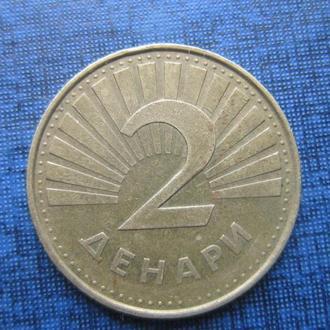 Монета 2 денари Македония 2001 фауна рыба