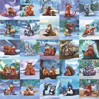 """Набор наклеек Растишка """"Животные под снегом"""" 25 штук.Новые"""
